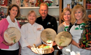 The 2012 Living the Irish Attitude Award Winners (Pictured from L to R: Linda Kick, Our CupCakery; Jan Bonner & Bill Anderson, Whole Foods Columbus/Dublin; Nanette Purdy & Melissa Sonksen, Sisters Sweet Shoppe)