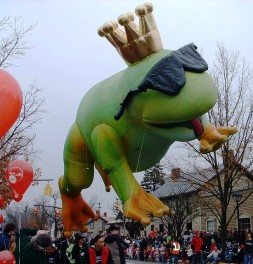 A frog float in the St. Patrick's Day parade!